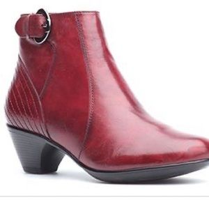 Dansko Frances Red Antiqued Leather Ankle Bootie
